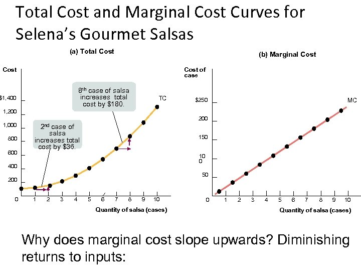 Total Cost and Marginal Cost Curves for Selena's Gourmet Salsas (a) Total Cost (b)
