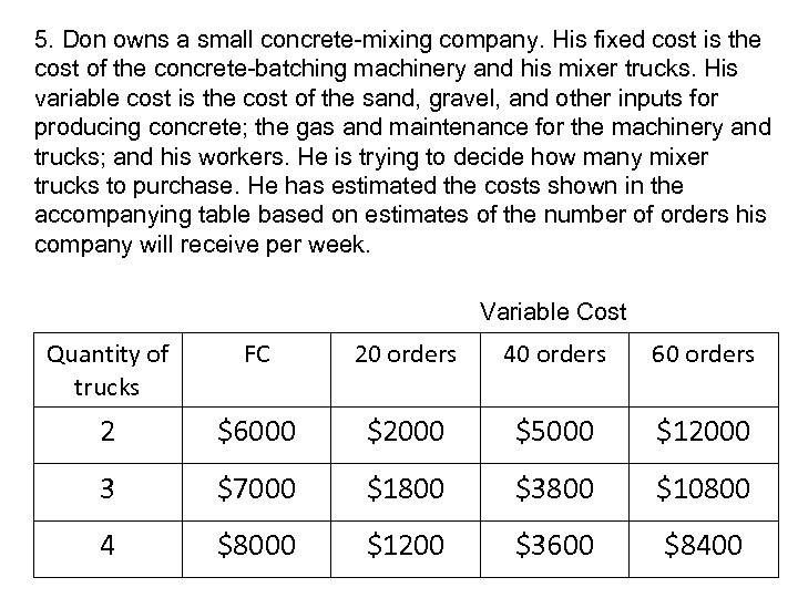 5. Don owns a small concrete-mixing company. His fixed cost is the cost of