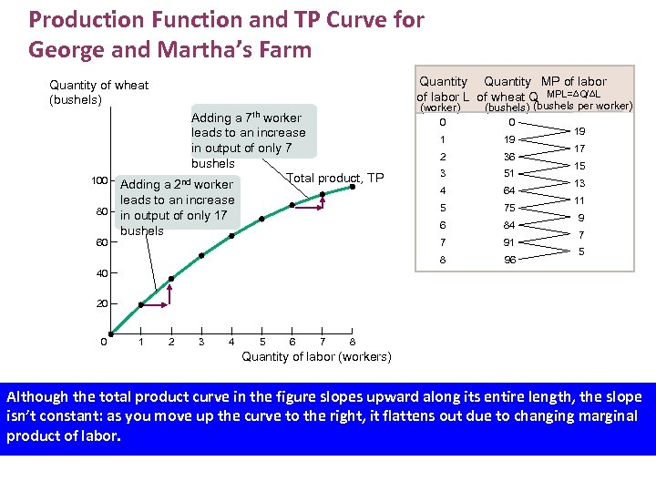 Production Function and TP Curve for George and Martha's Farm Quantity MP of labor
