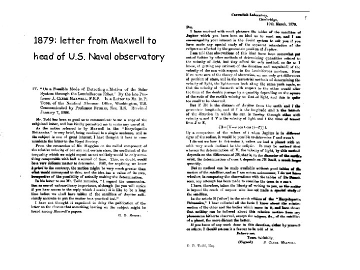 1879: letter from Maxwell to head of U. S. Naval observatory