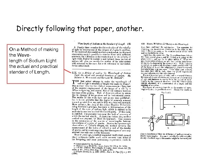 Directly following that paper, another. On a Method of making the Wavelength of Sodium