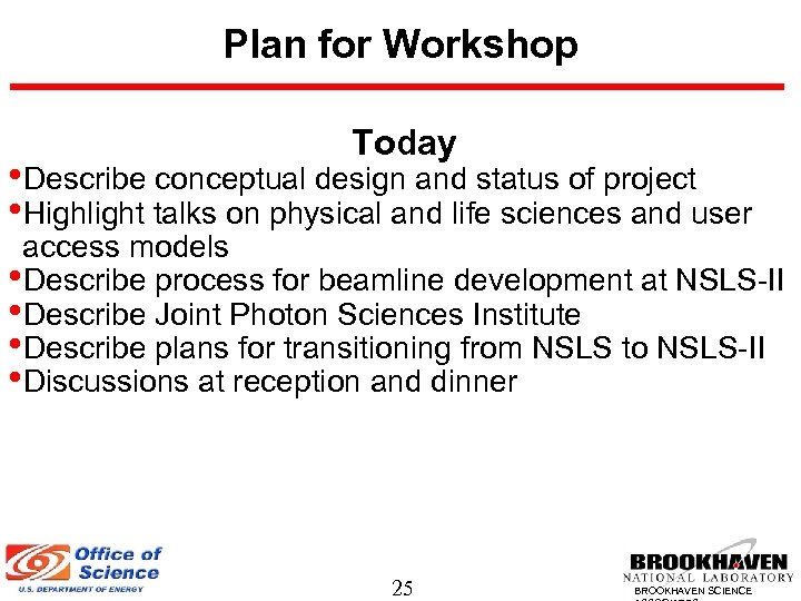 Plan for Workshop Today • Describe conceptual design and status of project • Highlight