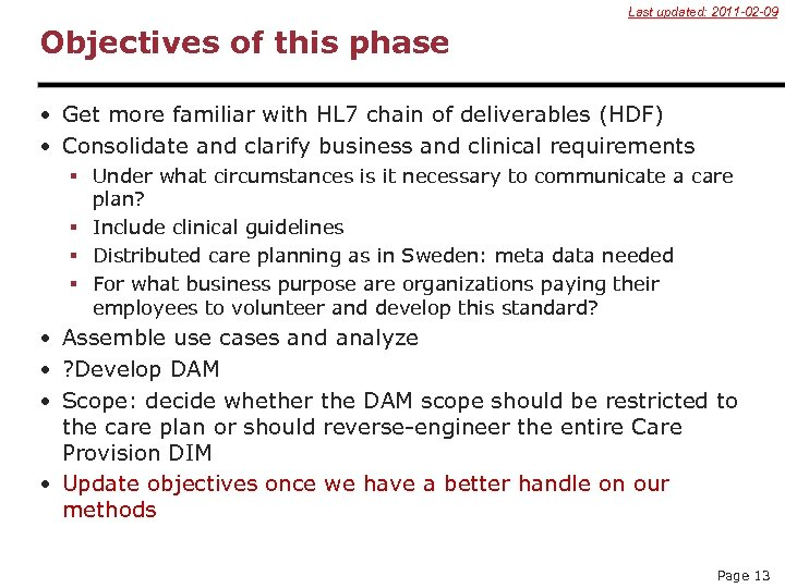 Last updated: 2011 -02 -09 Objectives of this phase • Get more familiar with