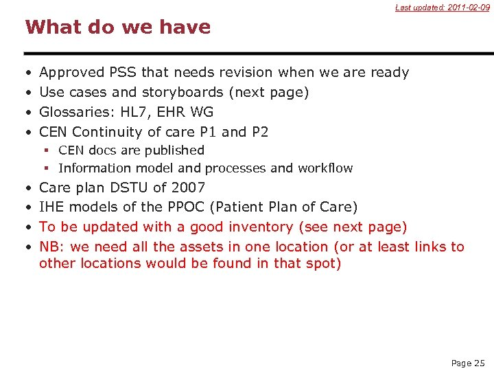 Last updated: 2011 -02 -09 What do we have • • Approved PSS that
