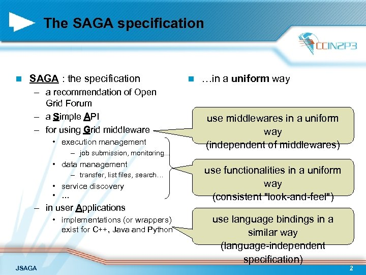 The SAGA specification n SAGA : the specification – a recommendation of Open Grid