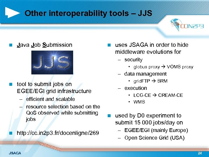 Other interoperability tools – JJS n Java Job Submission n uses JSAGA in order