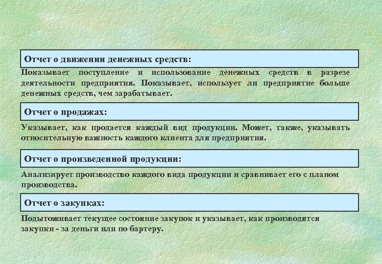 Отчет о движении денежных средств: Показывает поступление и использование денежных средств в разрезе деятельности