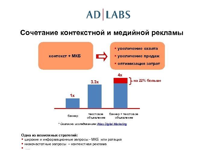 Сочетание контекстной и медийной рекламы § увеличение охвата § увеличение продаж контекст + МКБ