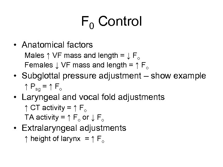 F 0 Control • Anatomical factors Males ↑ VF mass and length = ↓