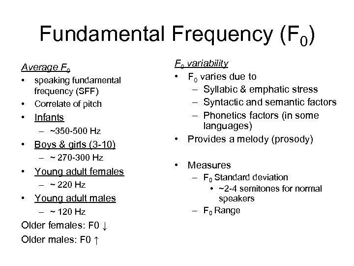 Fundamental Frequency (F 0) Average F 0 • • speaking fundamental frequency (SFF) Correlate