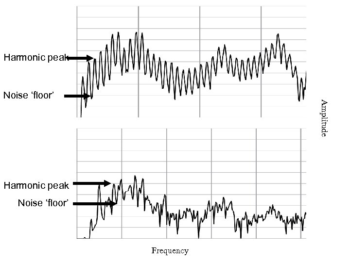 Harmonic peak Amplitude Noise 'floor' Harmonic peak Noise 'floor' Frequency