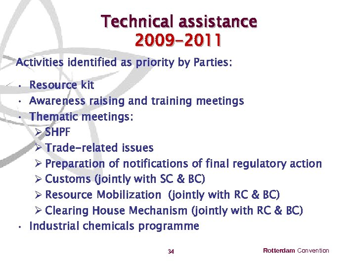 Technical assistance 2009 -2011 Activities identified as priority by Parties: • Resource kit •