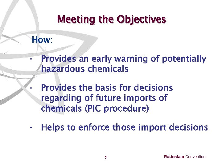 Meeting the Objectives How: • Provides an early warning of potentially hazardous chemicals •