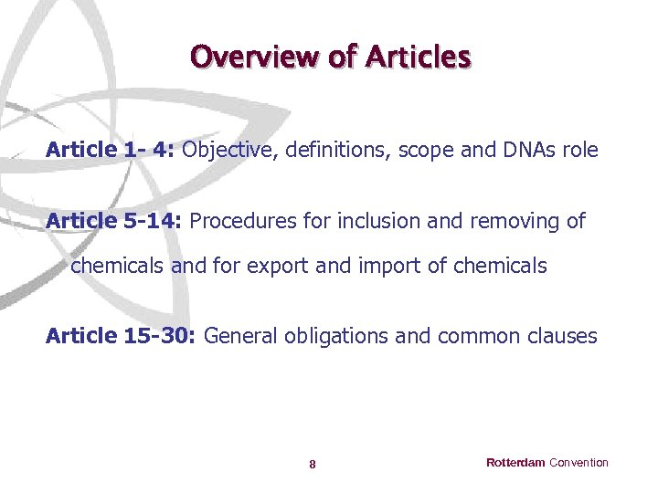 Overview of Articles Article 1 - 4: Objective, definitions, scope and DNAs role Article