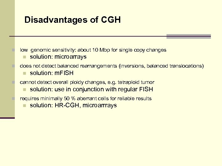 Disadvantages of CGH n low genomic sensitivity: about 10 Mbp for single copy changes