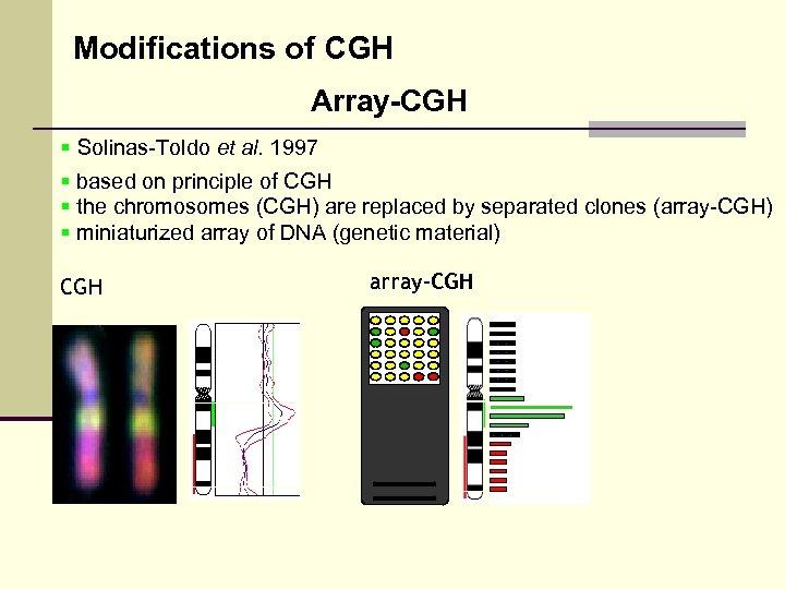 Modifications of CGH Array-CGH § Solinas-Toldo et al. 1997 § based on principle of