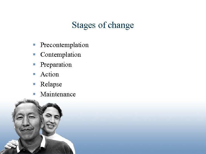 Stages of change § § § Precontemplation Contemplation Preparation Action Relapse Maintenance Leading the