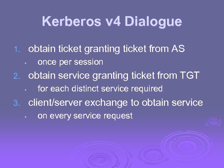 Kerberos v 4 Dialogue obtain ticket granting ticket from AS 1. • once per