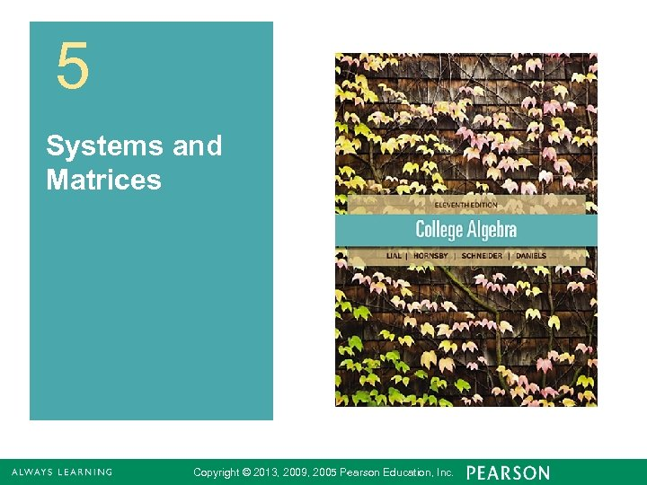5 Systems and Matrices Copyright © 2013, 2009, 2005 Pearson Education, Inc. 1
