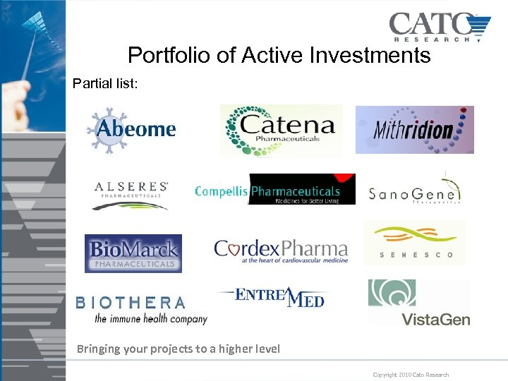 Portfolio of Active Investments Partial list: Bringing your projects to a higher level Copyright