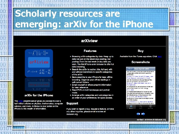 Scholarly resources are emerging: ar. Xiv for the i. Phone