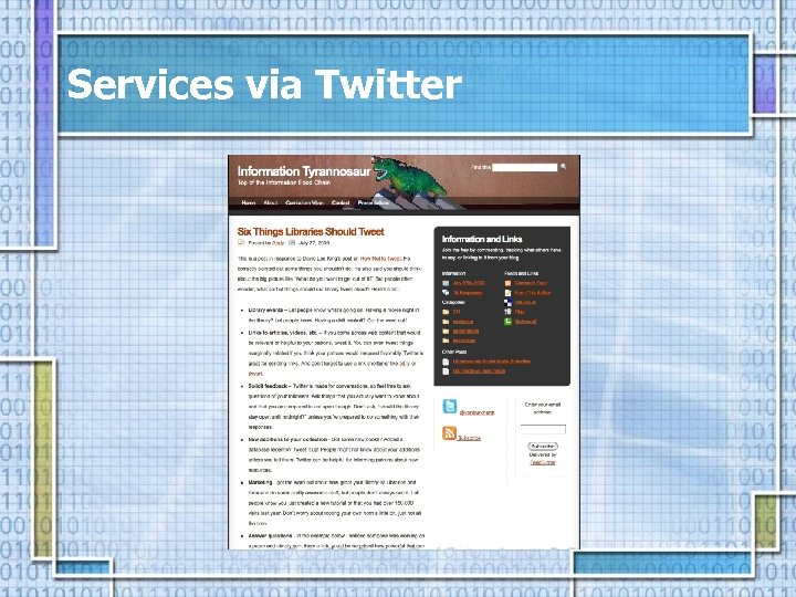 Services via Twitter