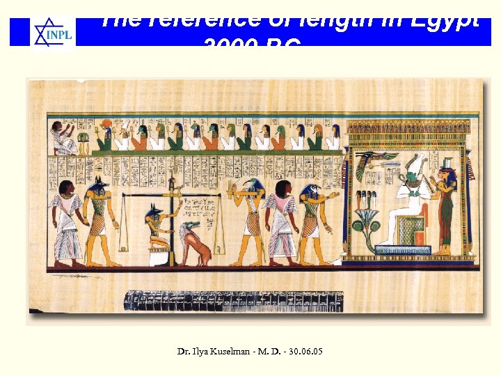 The reference of length in Egypt 3000 BC Dr. Ilya Kuselman - M. D.