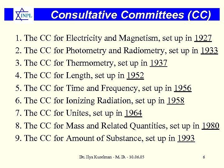 Consultative Committees (CC) 1. The CC for Electricity and Magnetism, set up in 1927