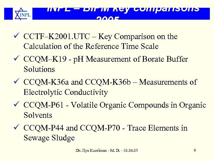 INPL – BIPM key comparisons 2005 ü CCTF–K 2001. UTC – Key Comparison on