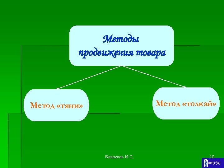 Методы продвижения товара Метод «толкай» Метод «тяни» Безруков И. С. 10