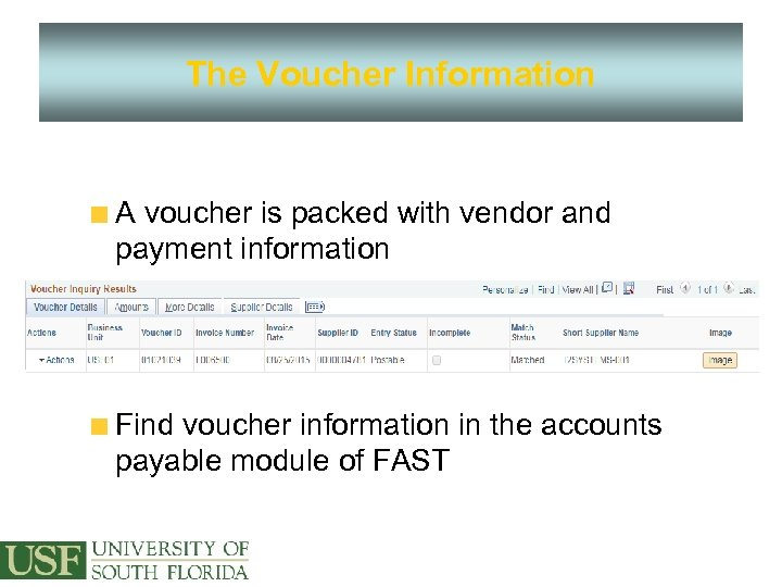 The Voucher Information A voucher is packed with vendor and payment information Find voucher