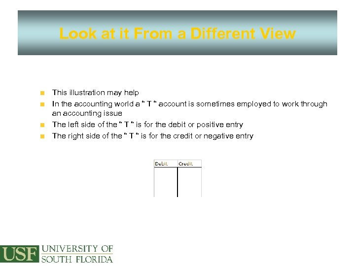 Look at it From a Different View This illustration may help In the accounting