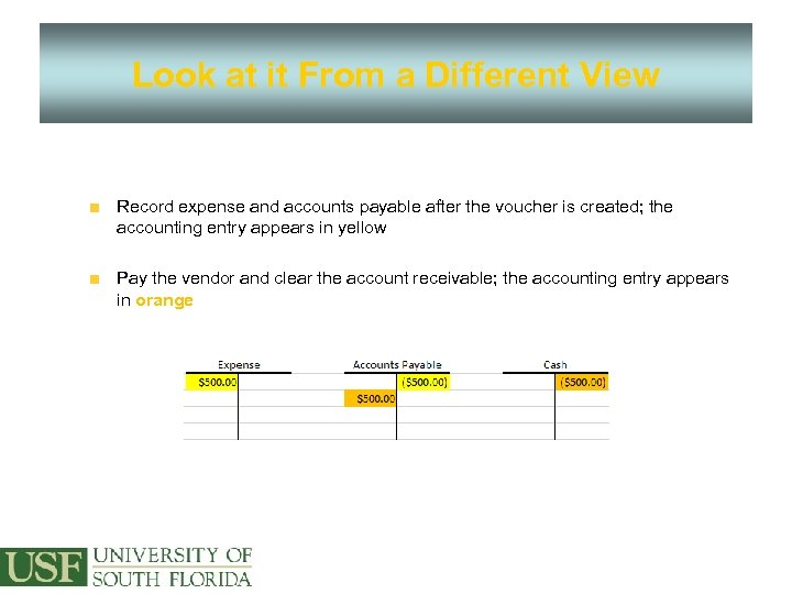 Look at it From a Different View Record expense and accounts payable after the