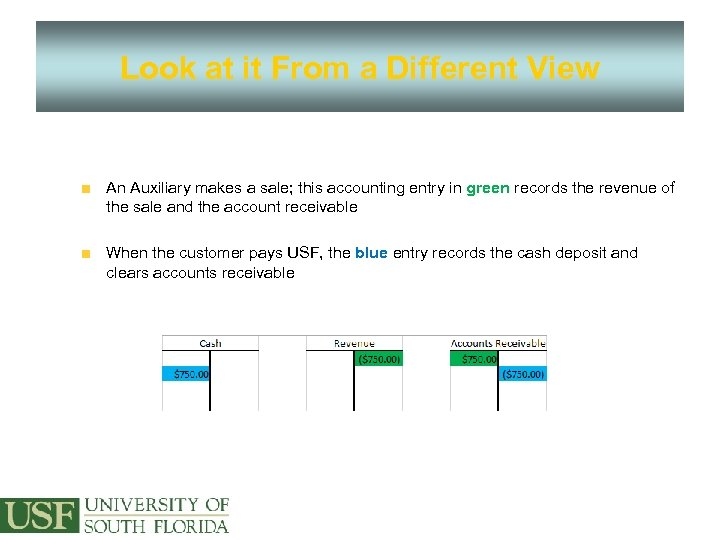 Look at it From a Different View An Auxiliary makes a sale; this accounting