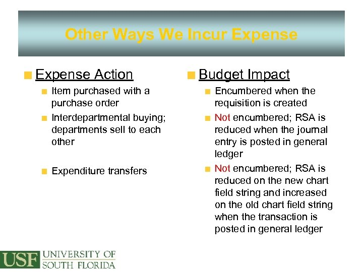 Other Ways We Incur Expense Action Item purchased with a purchase order Interdepartmental buying;