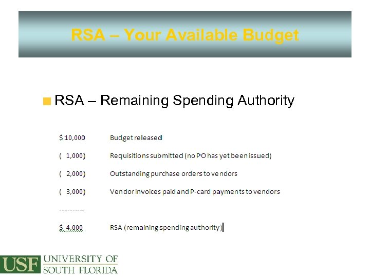 RSA – Your Available Budget RSA – Remaining Spending Authority