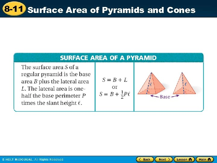 8 -11 Surface Area of Pyramids and Cones