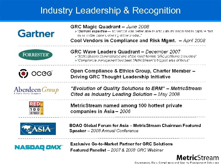 Industry Leadership & Recognition BOAO Global Forum for Asia – Metric. Stream Chairman Featured