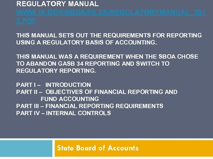 REGULATORY MANUAL WWW. IN. GOV/SBOA/FILES/REGULATORYMANUAL_201 2. PDF THIS MANUAL SETS OUT THE REQUIREMENTS FOR
