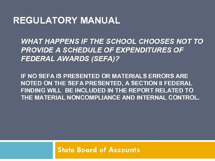 REGULATORY MANUAL WHAT HAPPENS IF THE SCHOOL CHOOSES NOT TO PROVIDE A SCHEDULE OF