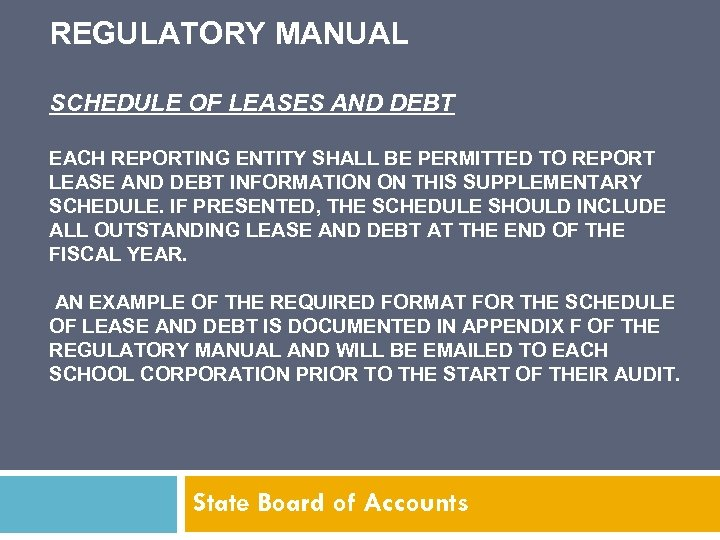 REGULATORY MANUAL SCHEDULE OF LEASES AND DEBT EACH REPORTING ENTITY SHALL BE PERMITTED TO
