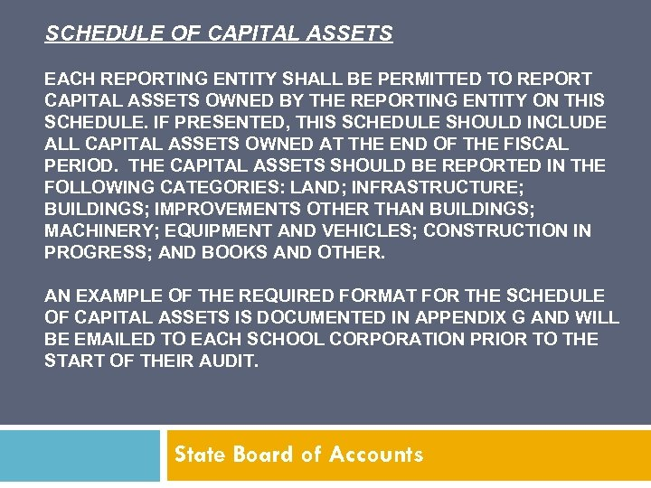SCHEDULE OF CAPITAL ASSETS EACH REPORTING ENTITY SHALL BE PERMITTED TO REPORT CAPITAL ASSETS