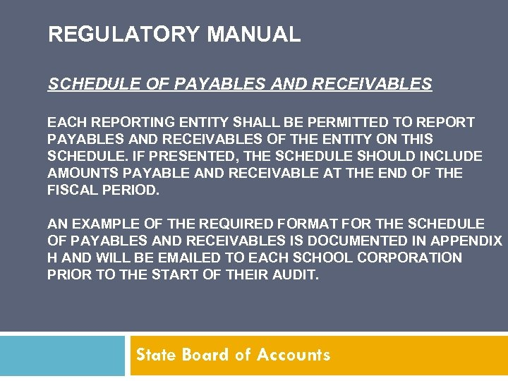 REGULATORY MANUAL SCHEDULE OF PAYABLES AND RECEIVABLES EACH REPORTING ENTITY SHALL BE PERMITTED TO
