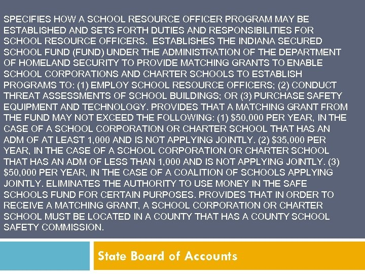 SPECIFIES HOW A SCHOOL RESOURCE OFFICER PROGRAM MAY BE ESTABLISHED AND SETS FORTH DUTIES