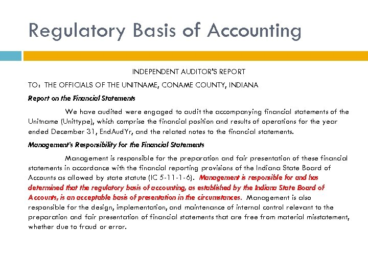 Regulatory Basis of Accounting INDEPENDENT AUDITOR'S REPORT TO: THE OFFICIALS OF THE UNITNAME, CONAME