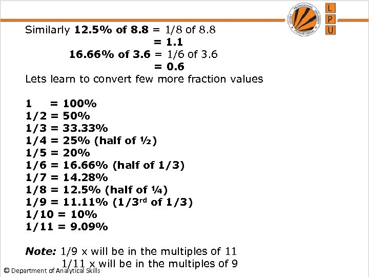 Similarly 12. 5% of 8. 8 = 1/8 of 8. 8 = 1. 1