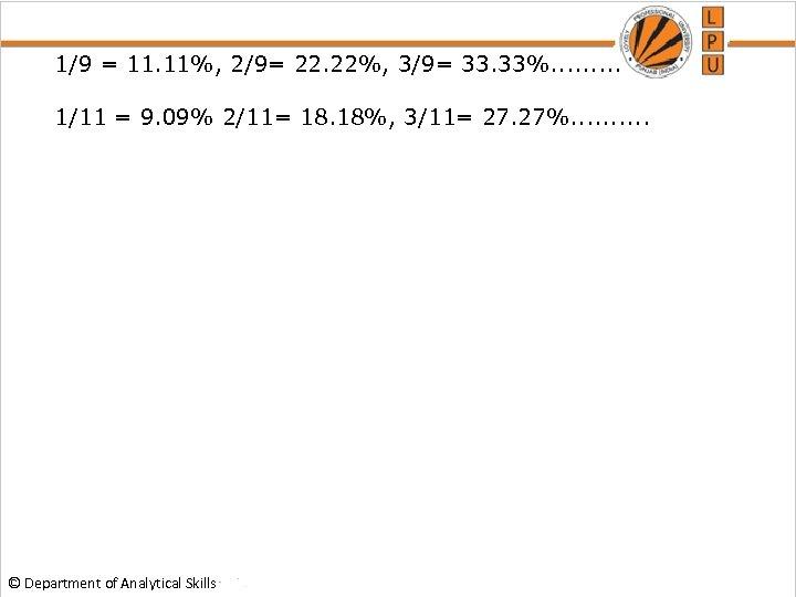 1/9 = 11. 11%, 2/9= 22. 22%, 3/9= 33. 33%. . 1/11 = 9.