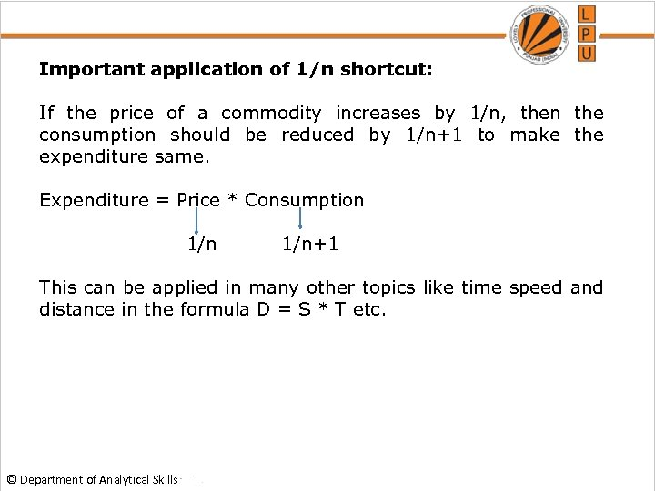 Important application of 1/n shortcut: If the price of a commodity increases by 1/n,