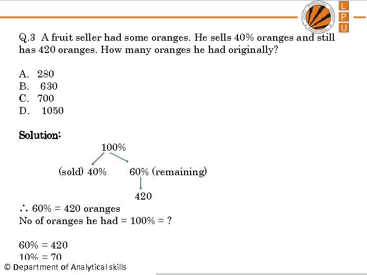 Q. 3 A fruit seller had some oranges. He sells 40% oranges and still