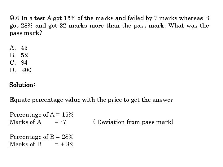 Q. 6 In a test A got 15% of the marks and failed by